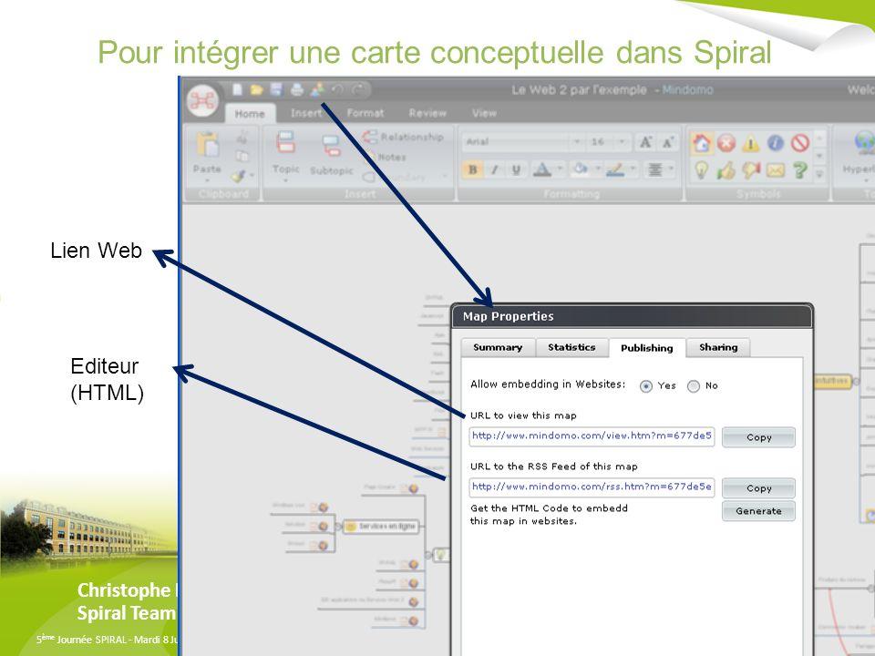 5 ème Journée SPIRAL - Mardi 8 Juillet 2008 - Université Lyon 3 Manufacture des Tabacs Pour intégrer une carte conceptuelle dans Spiral Christophe Batier /Eddy Marques Spiral Team Lien Web Editeur (HTML)
