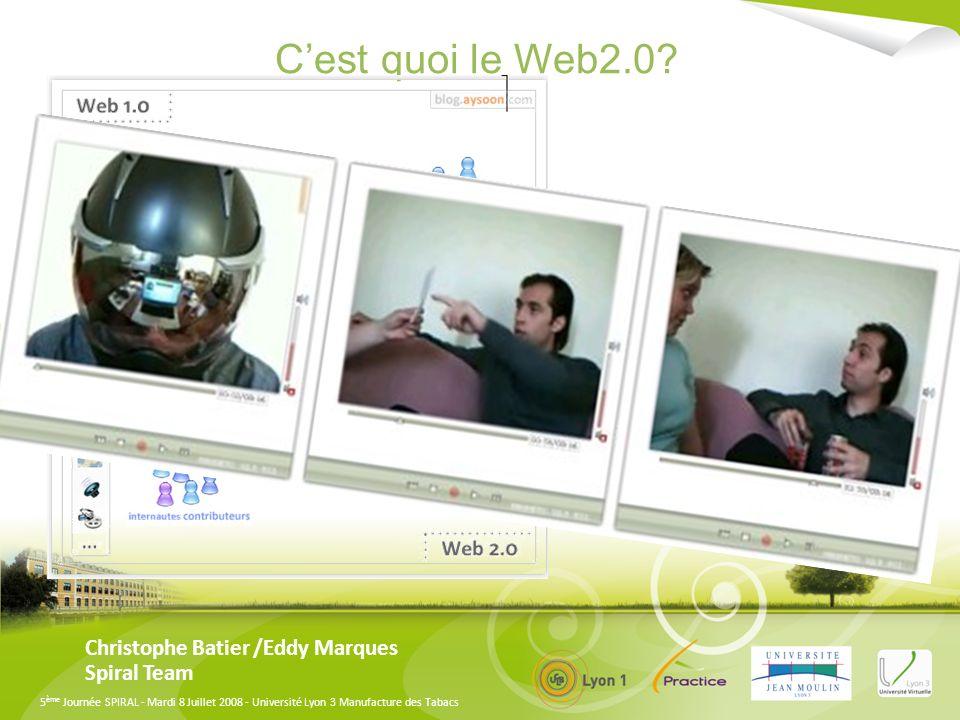 5 ème Journée SPIRAL - Mardi 8 Juillet 2008 - Université Lyon 3 Manufacture des Tabacs Christophe Batier /Eddy Marques Spiral Team Les présentations en ligne 1-lincontournable slideshare.com 2-Comment trouver une présentation sur lun de ces serveurs 3-Comment lintégrer à Spiral 4-Comment l int é grer dans un questionnaire, dans un blog, dans un wiki, dans un forum Lien Web Editeur (HTML)