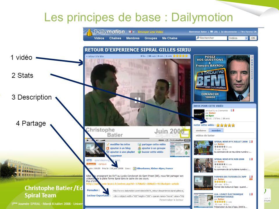 5 ème Journée SPIRAL - Mardi 8 Juillet 2008 - Université Lyon 3 Manufacture des Tabacs Comment intégrer une Vidéo dans Spiral Christophe Batier /Eddy Marques Spiral Team 1-Les incontournables Dailymotion Youtube, 2-Les thématiques Teachertube, Canal-U 3-Comment trouver une vidéos sur lun de ces serveurs 4-Comment lintégrer à Spiral 5-Comment l int é grer dans un questionnaire, dans un blog, dans un wiki, dans un forum
