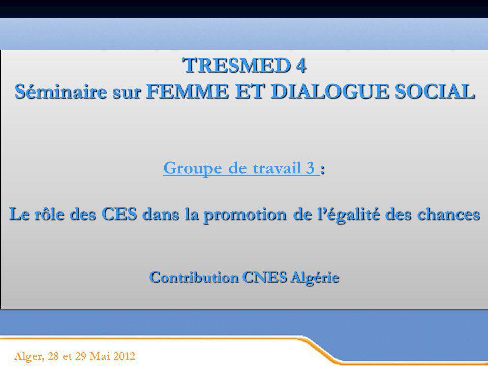 Page 2 Place de la femme dans le dialogue social - Valeur sociale éminente : fondement de lorganisation sociale - Condition essentielle du développement Trois points seront traités dans cette présentation: 1.