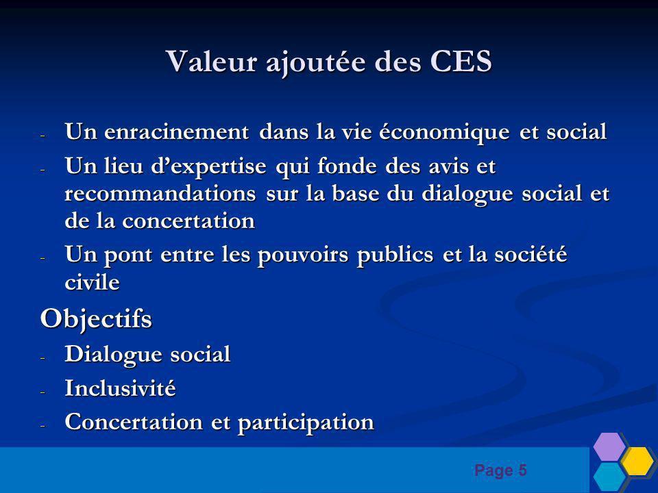 Page 5 Valeur ajoutée des CES - Un enracinement dans la vie économique et social - Un lieu dexpertise qui fonde des avis et recommandations sur la base du dialogue social et de la concertation - Un pont entre les pouvoirs publics et la société civile Objectifs - Dialogue social - Inclusivité - Concertation et participation