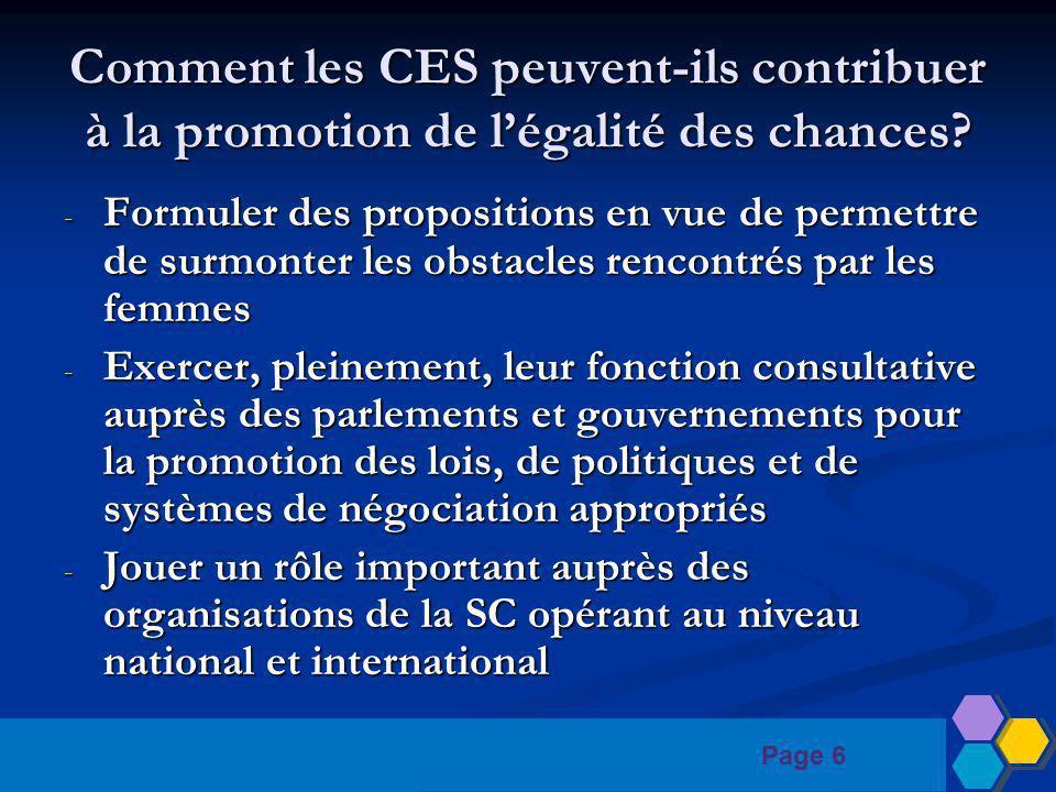 Page 6 Comment les CES peuvent-ils contribuer à la promotion de légalité des chances.