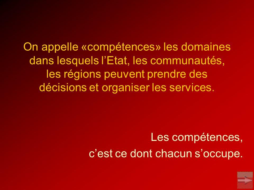 On appelle «compétences» les domaines dans lesquels lEtat, les communautés, les régions peuvent prendre des décisions et organiser les services. Les c