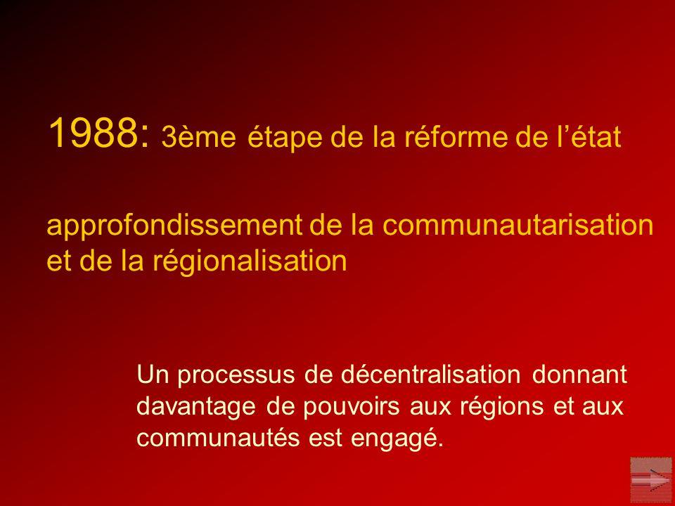 lenseignement est transféré aux communautés les compétences régionales sélargissent aux travaux publics et aux transports afin de rendre les communautés et les régions plus responsables, le système de financement est remanié la région de Bruxelles-capitale est mise en place