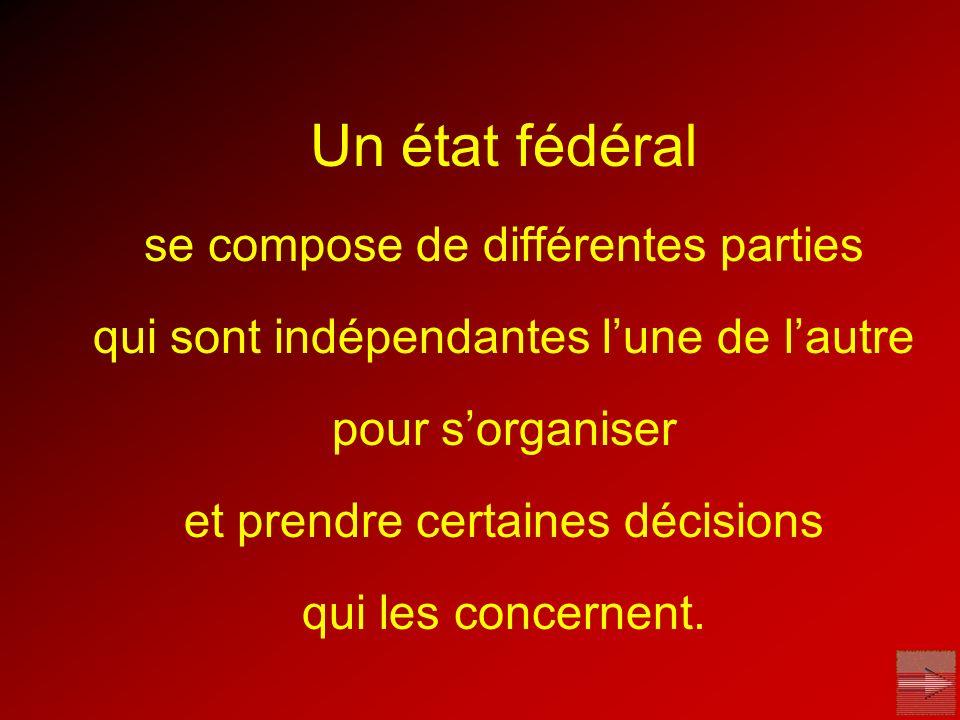 Un état fédéral se compose de différentes parties qui sont indépendantes lune de lautre pour sorganiser et prendre certaines décisions qui les concern