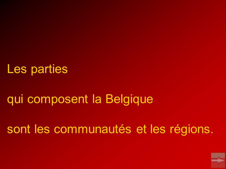 Les parties qui composent la Belgique sont les communautés et les régions.