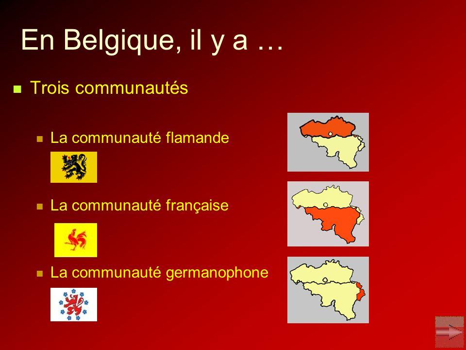 En Belgique, il y a … Trois régions La Région flamande La Région de Bruxelles-capitale La Région wallonne