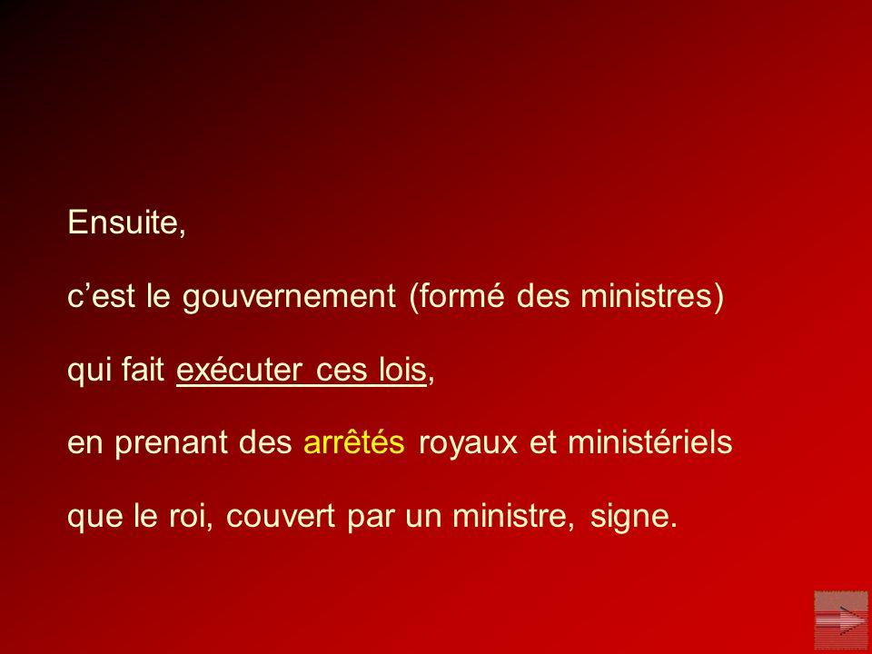 Ensuite, cest le gouvernement (formé des ministres) qui fait exécuter ces lois, en prenant des arrêtés royaux et ministériels que le roi, couvert par