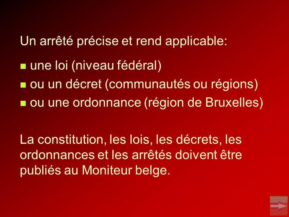 Un arrêté précise et rend applicable: une loi (niveau fédéral) ou un décret (communautés ou régions) ou une ordonnance (région de Bruxelles) La consti