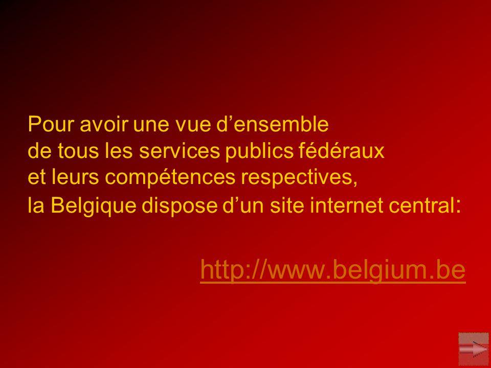 Pour avoir une vue densemble de tous les services publics fédéraux et leurs compétences respectives, la Belgique dispose dun site internet central : h