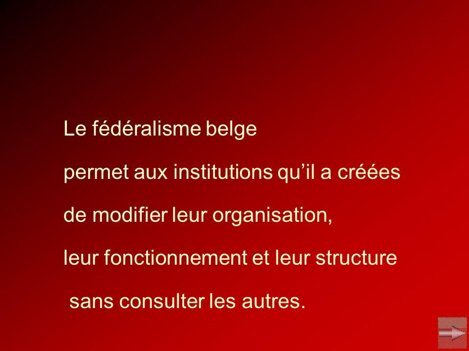 Le fédéralisme belge permet aux institutions quil a créées de modifier leur organisation, leur fonctionnement et leur structure sans consulter les aut