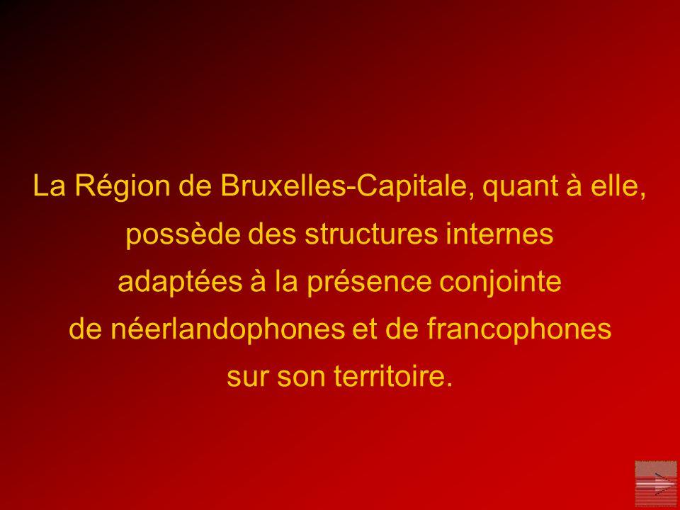 La Région de Bruxelles-Capitale, quant à elle, possède des structures internes adaptées à la présence conjointe de néerlandophones et de francophones