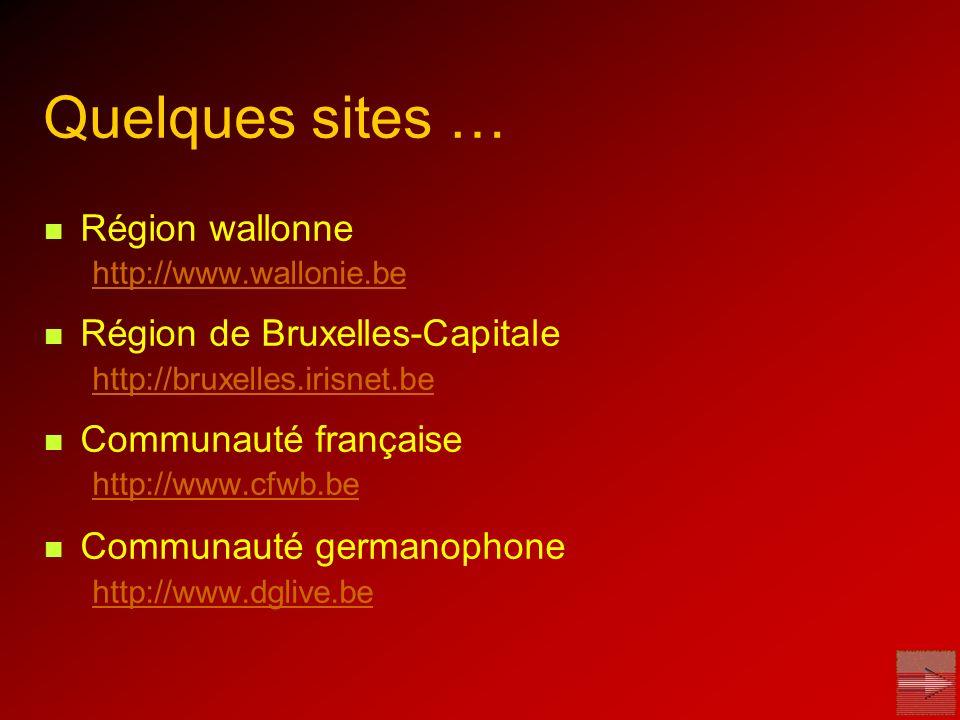 Quelques sites … Région wallonne http://www.wallonie.be Région de Bruxelles-Capitale http://bruxelles.irisnet.be Communauté française http://www.cfwb.