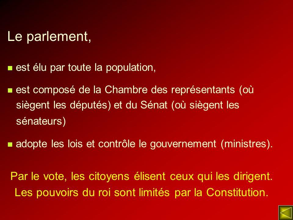 Le parlement, est élu par toute la population, est composé de la Chambre des représentants (où siègent les députés) et du Sénat (où siègent les sénate