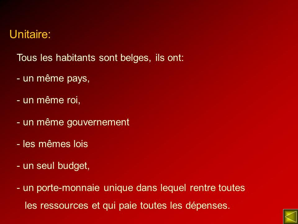 Unitaire: Tous les habitants sont belges, ils ont: - un même pays, - un même roi, - un même gouvernement - les mêmes lois - un seul budget, - un porte