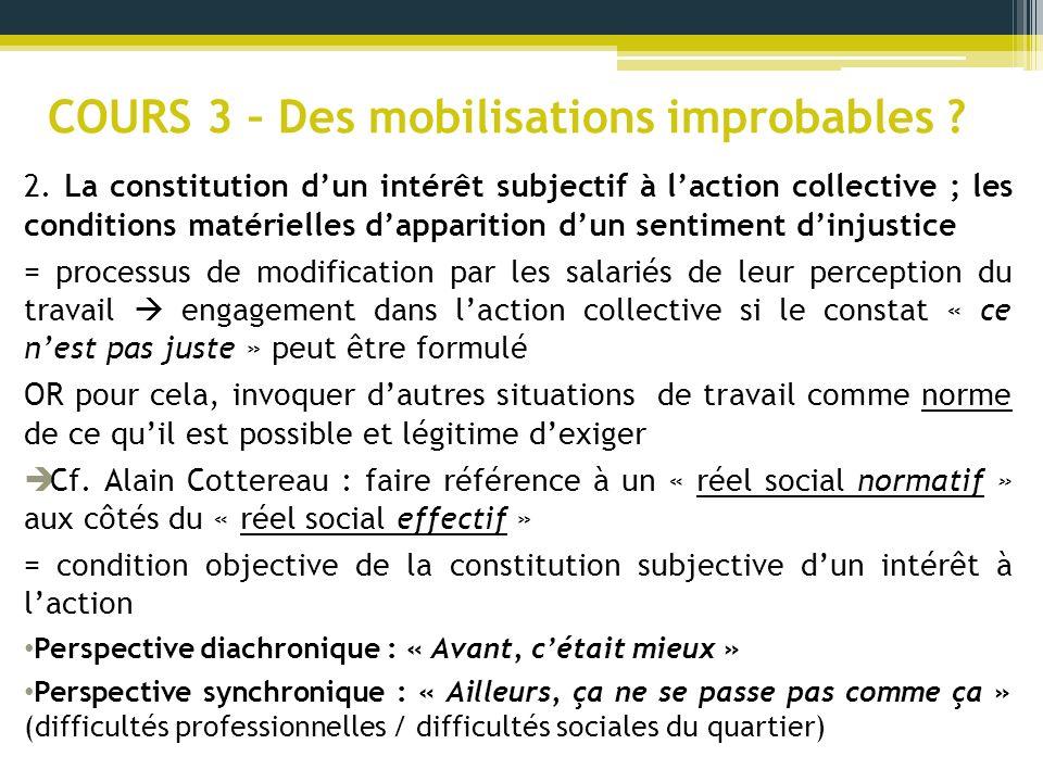 COURS 3 – Des mobilisations improbables ? 2. La constitution dun intérêt subjectif à laction collective ; les conditions matérielles dapparition dun s