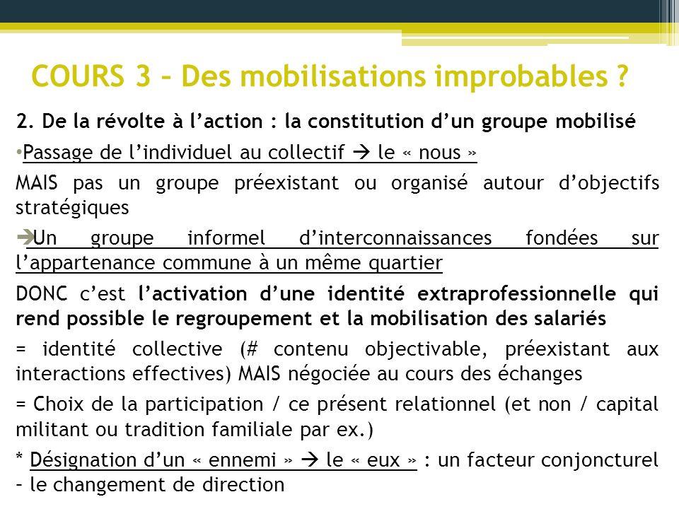 COURS 3 – Des mobilisations improbables ? 2. De la révolte à laction : la constitution dun groupe mobilisé Passage de lindividuel au collectif le « no