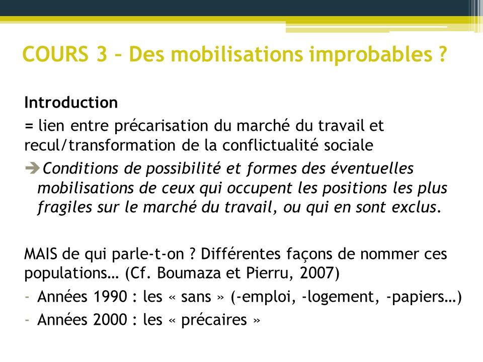 COURS 3 – Des mobilisations improbables ? Introduction = lien entre précarisation du marché du travail et recul/transformation de la conflictualité so
