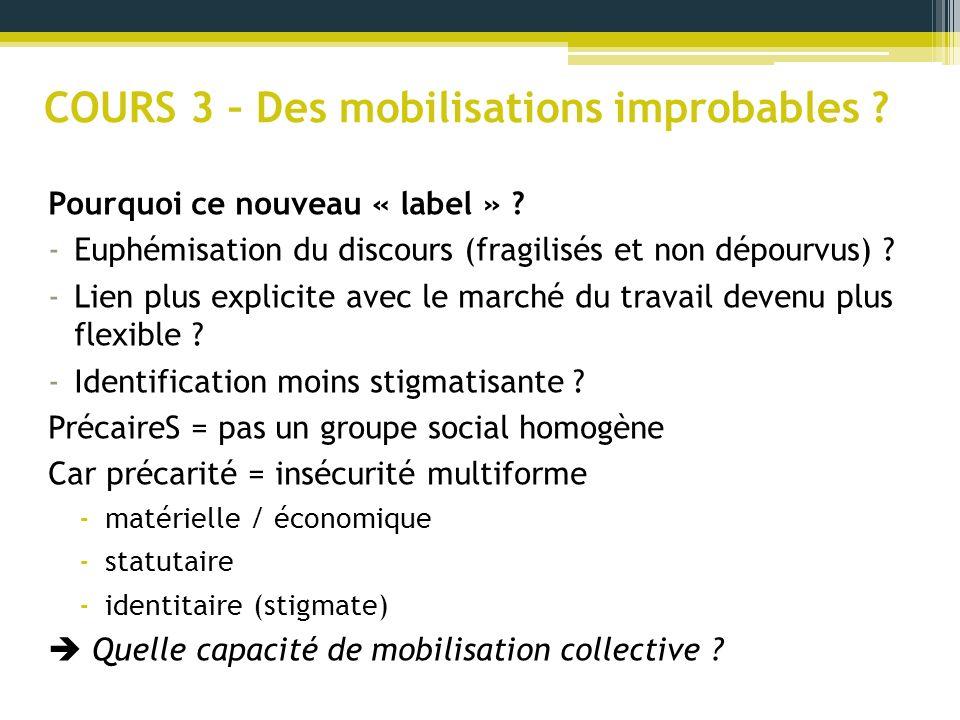 COURS 3 – Des mobilisations improbables ? Pourquoi ce nouveau « label » ? -Euphémisation du discours (fragilisés et non dépourvus) ? -Lien plus explic
