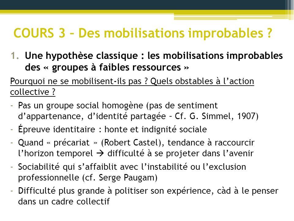 COURS 3 – Des mobilisations improbables ? 1.Une hypothèse classique : les mobilisations improbables des « groupes à faibles ressources » Pourquoi ne s