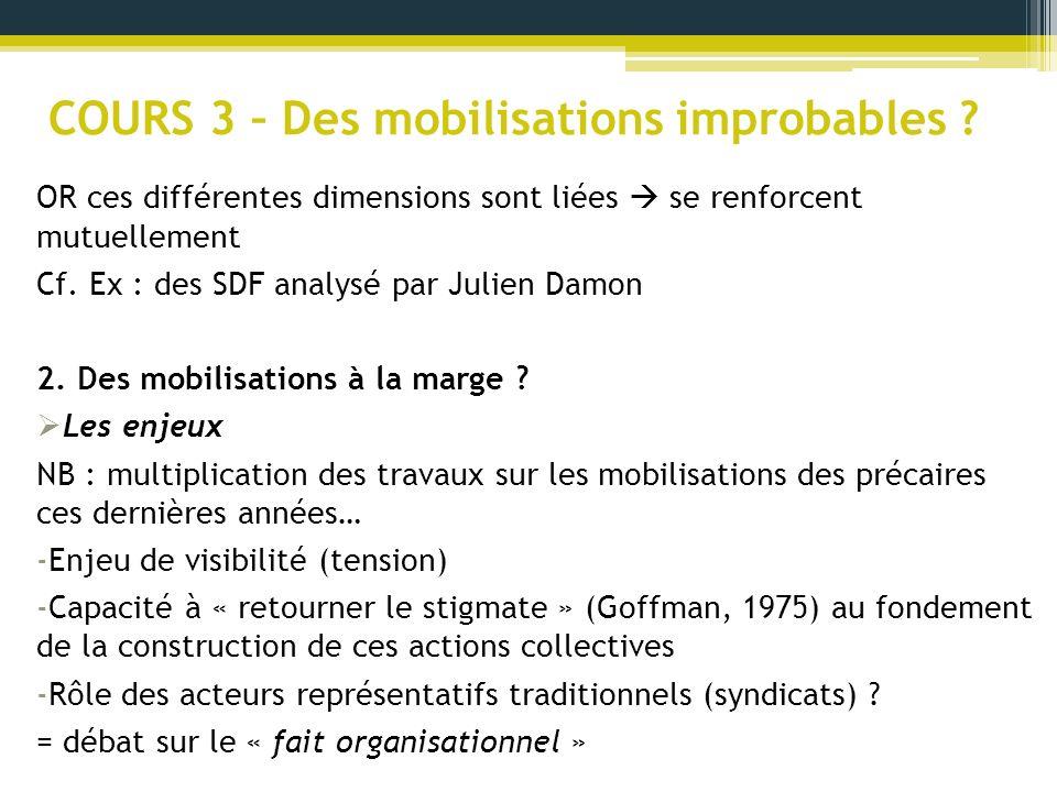COURS 3 – Des mobilisations improbables ? OR ces différentes dimensions sont liées se renforcent mutuellement Cf. Ex : des SDF analysé par Julien Damo