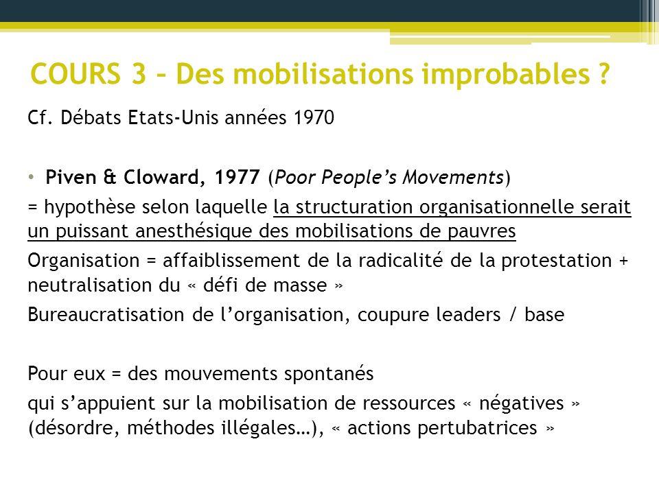 COURS 3 – Des mobilisations improbables ? Cf. Débats Etats-Unis années 1970 Piven & Cloward, 1977 (Poor Peoples Movements) = hypothèse selon laquelle
