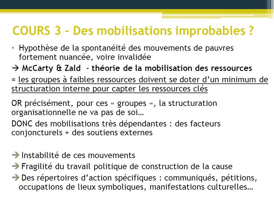 COURS 3 – Des mobilisations improbables ? Hypothèse de la spontanéité des mouvements de pauvres fortement nuancée, voire invalidée McCarty & Zald - th