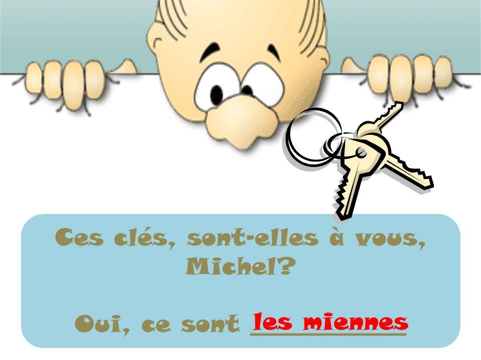 Ces clés, sont-elles à vous, Michel? Oui, ce sont _____________ les miennes
