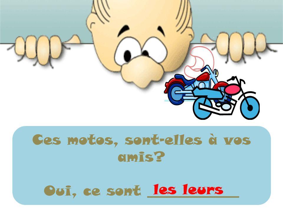 Ces motos, sont-elles à vos amis? Oui, ce sont _____________ les leurs