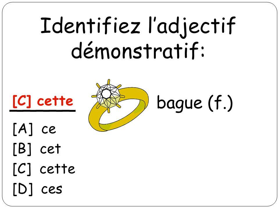 Identifiez ladjectif démonstratif: _____ blouson (m.) [A] ce [B] cet [C] cette [D] ces