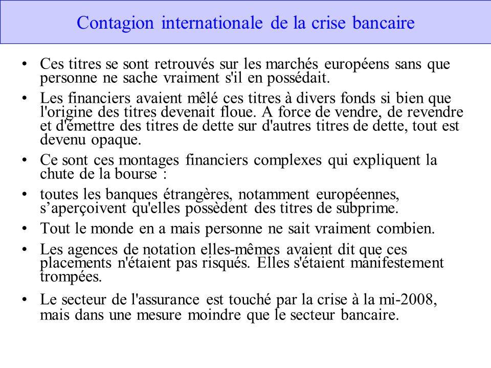Contagion internationale de la crise bancaire Ces titres se sont retrouvés sur les marchés européens sans que personne ne sache vraiment s il en possédait.