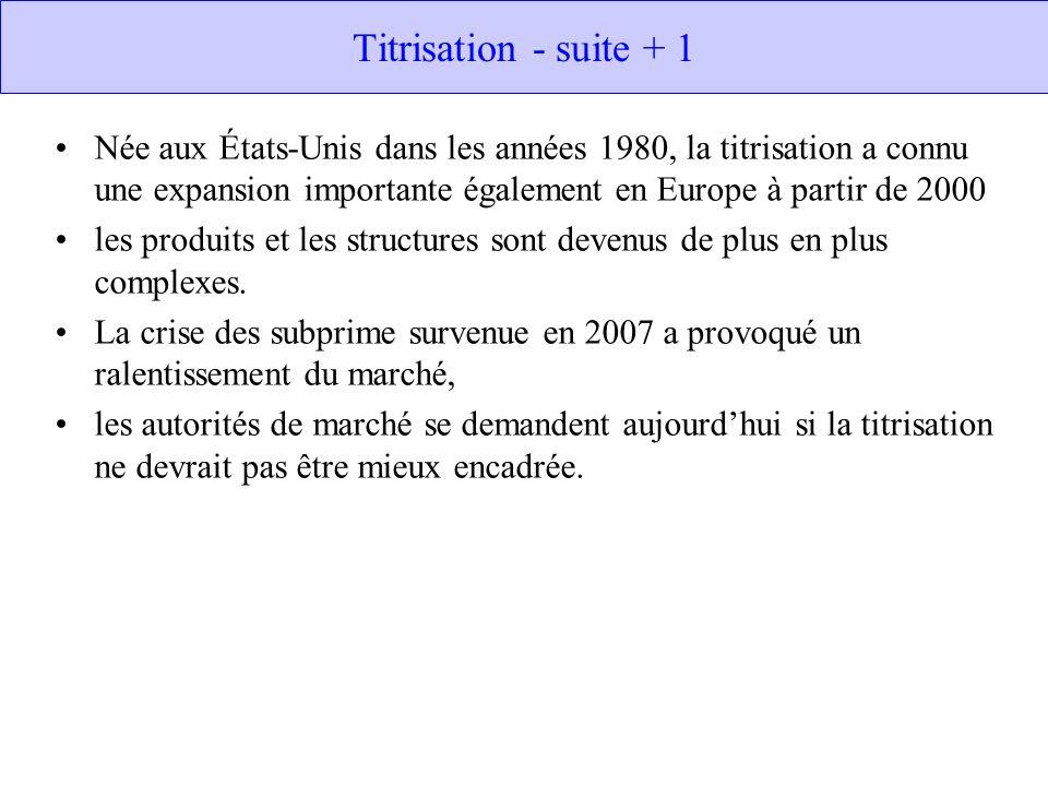Titrisation - suite + 1 Née aux États-Unis dans les années 1980, la titrisation a connu une expansion importante également en Europe à partir de 2000 les produits et les structures sont devenus de plus en plus complexes.