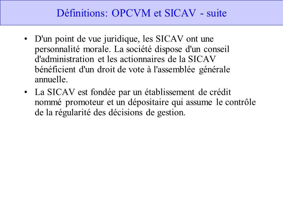 Définitions: OPCVM et SICAV - suite D un point de vue juridique, les SICAV ont une personnalité morale.