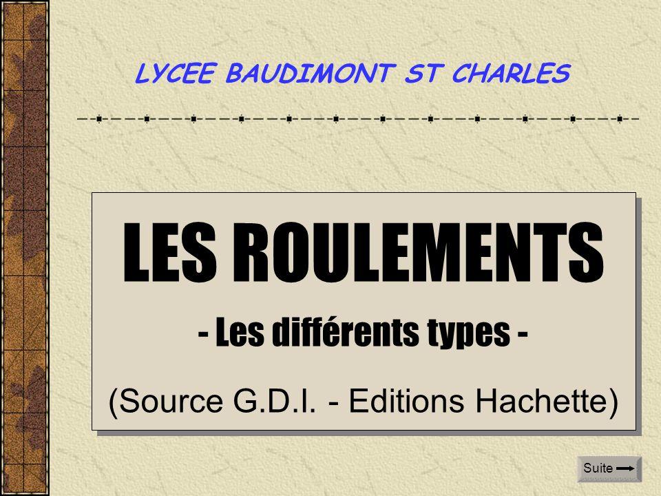 LES ROULEMENTS - Les différents types - (Source G.D.I. - Editions Hachette) LES ROULEMENTS - Les différents types - (Source G.D.I. - Editions Hachette