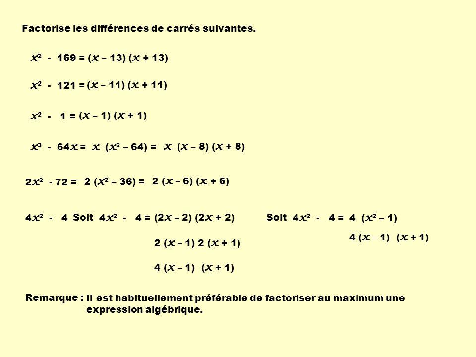 Factorise les différences de carrés suivantes. x 2 - 169 = 4 x 2 - 4 x 2 - 121 = x 2 - 1 = x 3 - 64 x = 2 x 2 - 72 = ( x – 13) ( x + 13) ( x – 11) ( x
