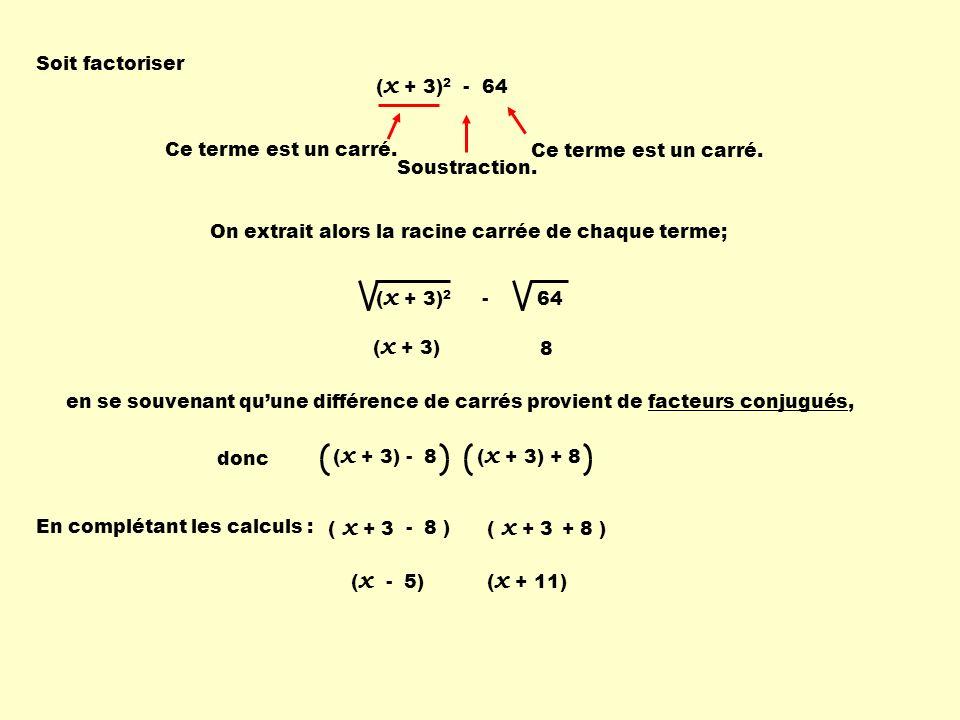 ( x + 3) 2 - 64 Soit factoriser ( x + 3) 2 - 64 Ce terme est un carré. Soustraction. Ce terme est un carré. On extrait alors la racine carrée de chaqu