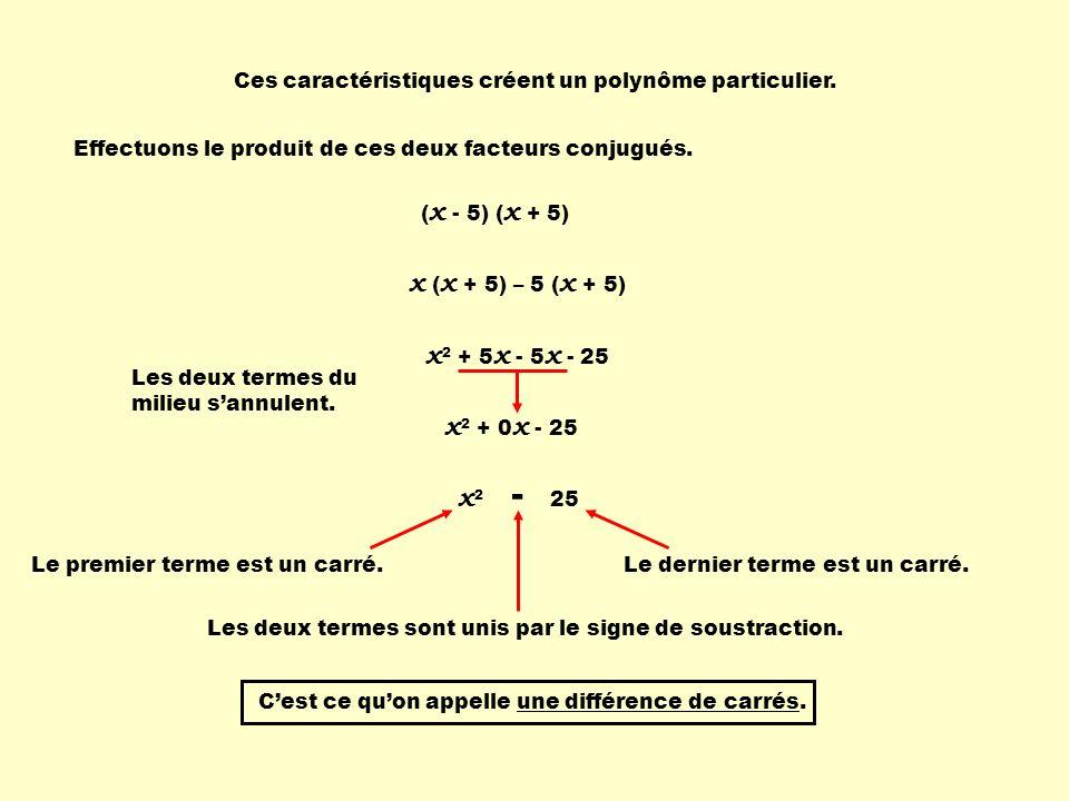 x 2 + 5 x - 5 x - 25 Ces caractéristiques créent un polynôme particulier. Effectuons le produit de ces deux facteurs conjugués. ( x - 5) ( x + 5) x (
