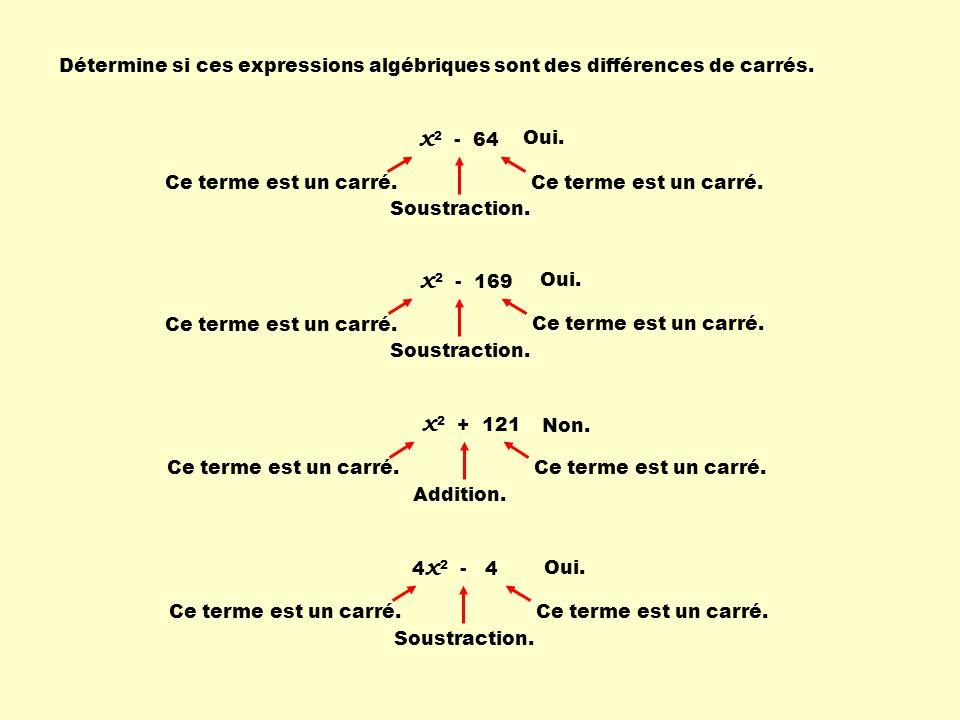 Détermine si ces expressions algébriques sont des différences de carrés. x 2 - 64 Oui. Ce terme est un carré. Soustraction. Ce terme est un carré. x 2