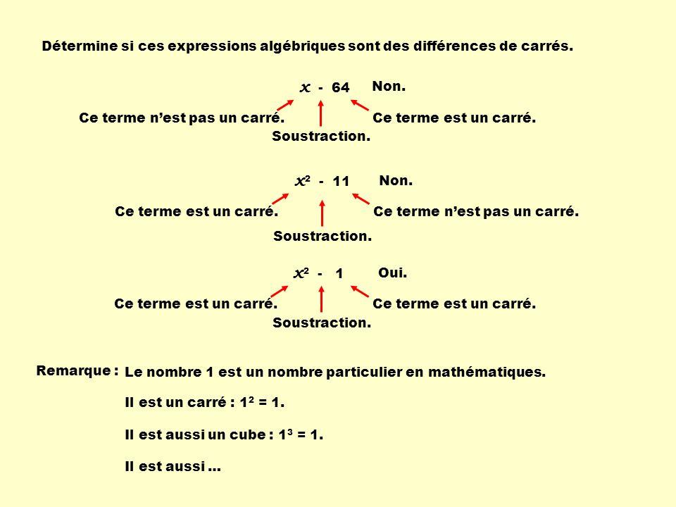 Détermine si ces expressions algébriques sont des différences de carrés. x - 64 Non. Ce terme nest pas un carré. Soustraction. Ce terme est un carré.