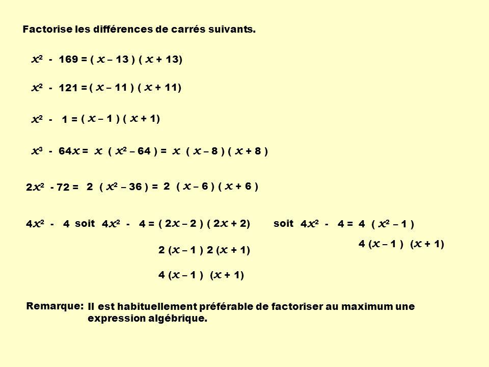 Factorise les différences de carrés suivants.