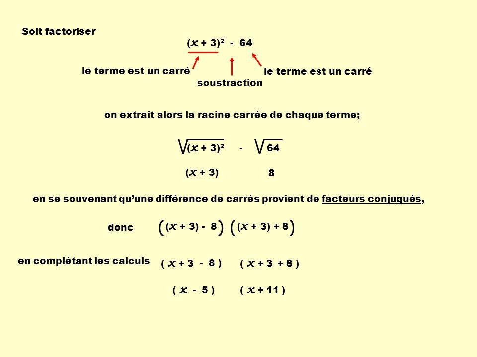 ( x + 3) 2 - 64 Soit factoriser ( x + 3) 2 - 64 le terme est un carré soustraction le terme est un carré on extrait alors la racine carrée de chaque terme; 8 en se souvenant quune différence de carrés provient defacteurs conjugués, ( x + 3) donc ( x + 3) - 8 ( x + 3) + 8 en complétant les calculs ( x + 3 - 8 ) ( x + 3 + 8 ) ( x - 5 ) ( x + 11 )