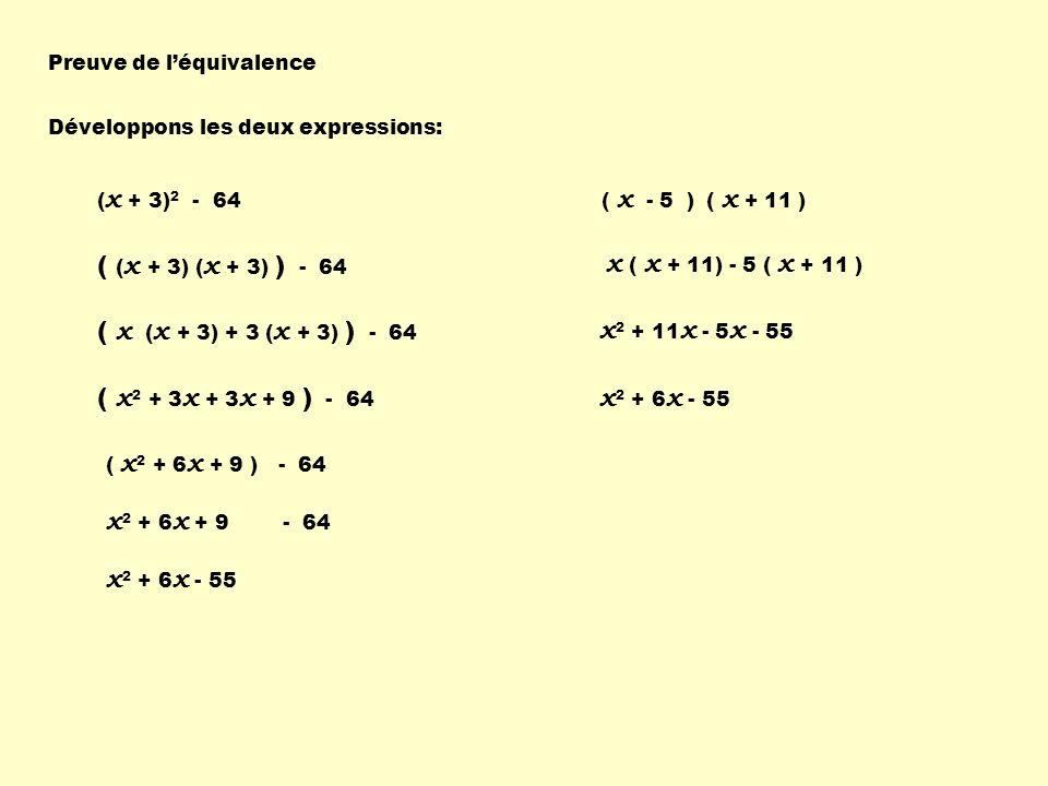 Preuve de léquivalence ( x + 3) 2 - 64 Développons les deux expressions: ( ( x + 3) ( x + 3) ) - 64 ( x ( x + 3) + 3 ( x + 3) ) - 64 ( x 2 + 3 x + 3 x + 9 ) - 64 ( x 2 + 6 x + 9 ) - 64 x 2 + 6 x + 9 - 64 x 2 + 6 x - 55 ( x - 5 ) ( x + 11 ) x ( x + 11) - 5 ( x + 11 ) x 2 + 11 x - 5 x - 55 x 2 + 6 x - 55