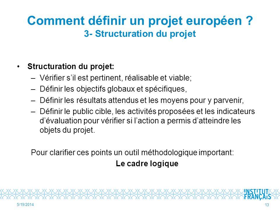 Comment définir un projet européen ? 3- Structuration du projet Structuration du projet: –Vérifier sil est pertinent, réalisable et viable; –Définir l