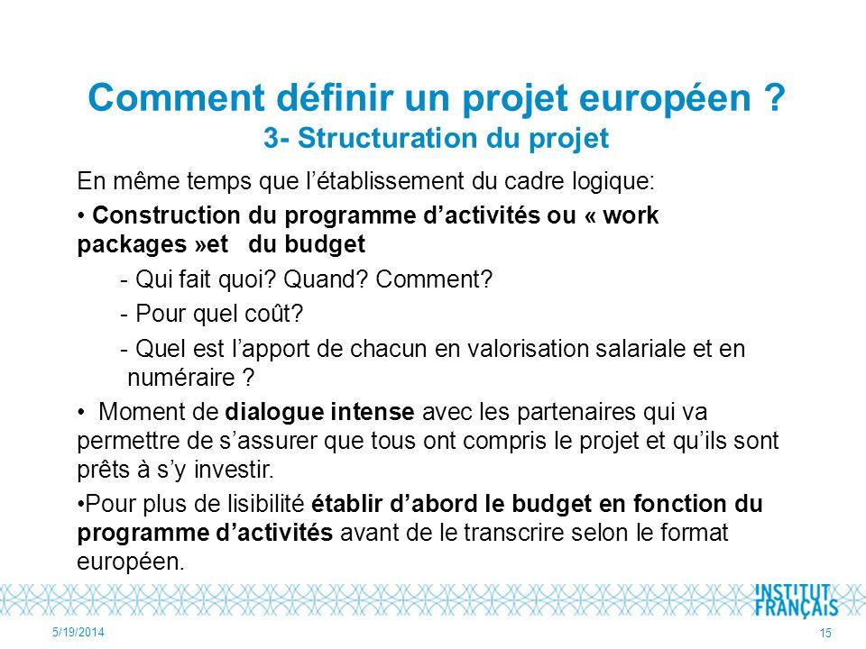 Comment définir un projet européen ? 3- Structuration du projet En même temps que létablissement du cadre logique: Construction du programme dactivité