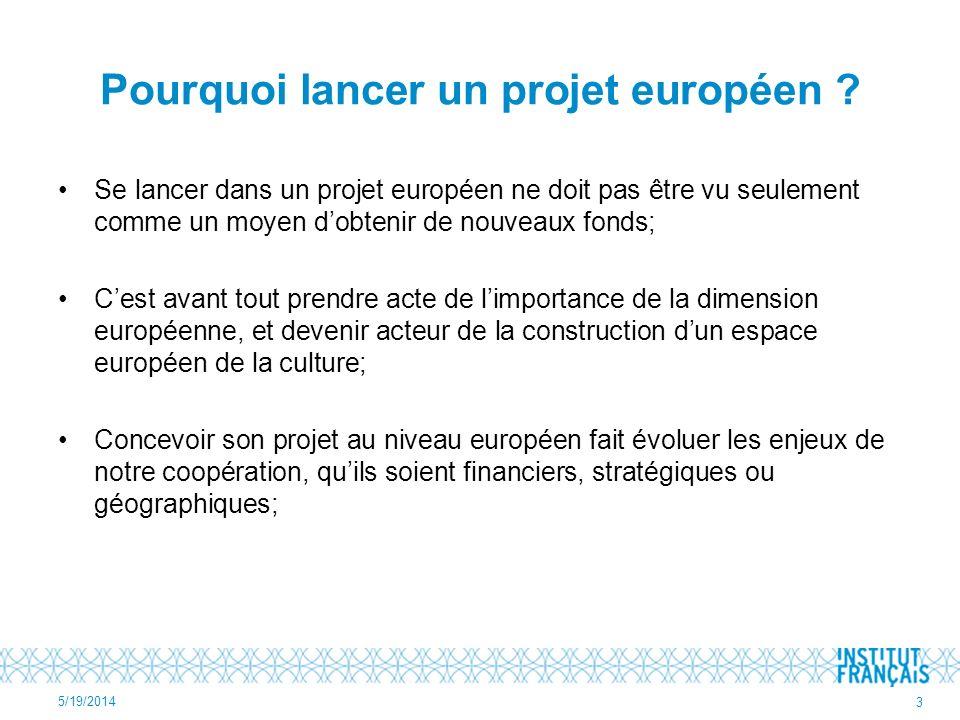 Pourquoi lancer un projet européen ? Se lancer dans un projet européen ne doit pas être vu seulement comme un moyen dobtenir de nouveaux fonds; Cest a