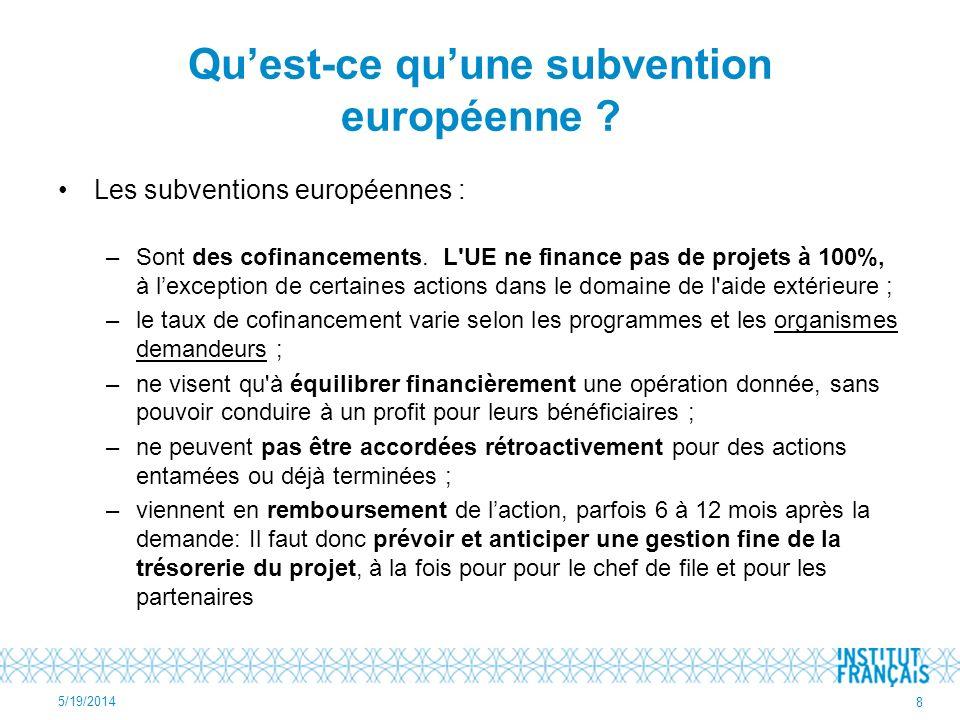 Quest-ce quune subvention européenne ? Les subventions européennes : –Sont des cofinancements. L'UE ne finance pas de projets à 100%, à lexception de