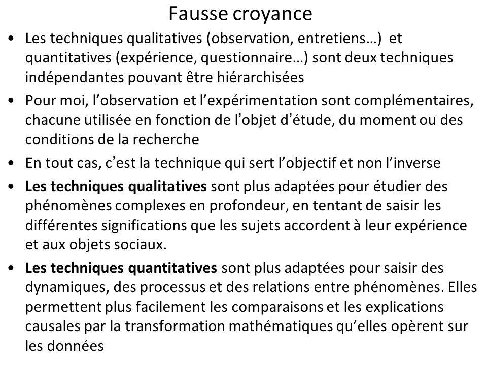 Fausse croyance Les techniques qualitatives (observation, entretiens…) et quantitatives (expérience, questionnaire…) sont deux techniques indépendante