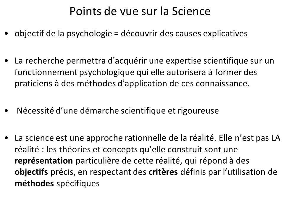 Points de vue sur la Science objectif de la psychologie = découvrir des causes explicatives La recherche permettra dacquérir une expertise scientifiqu