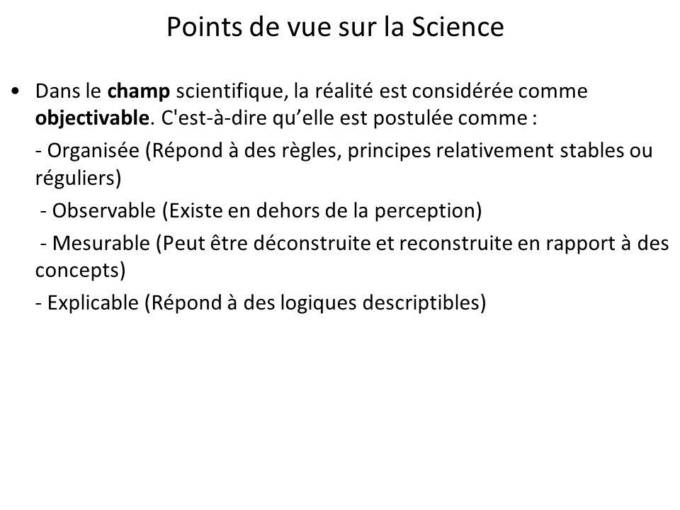 Points de vue sur la Science Dans le champ scientifique, la réalité est considérée comme objectivable. C'est-à-dire quelle est postulée comme : - Orga