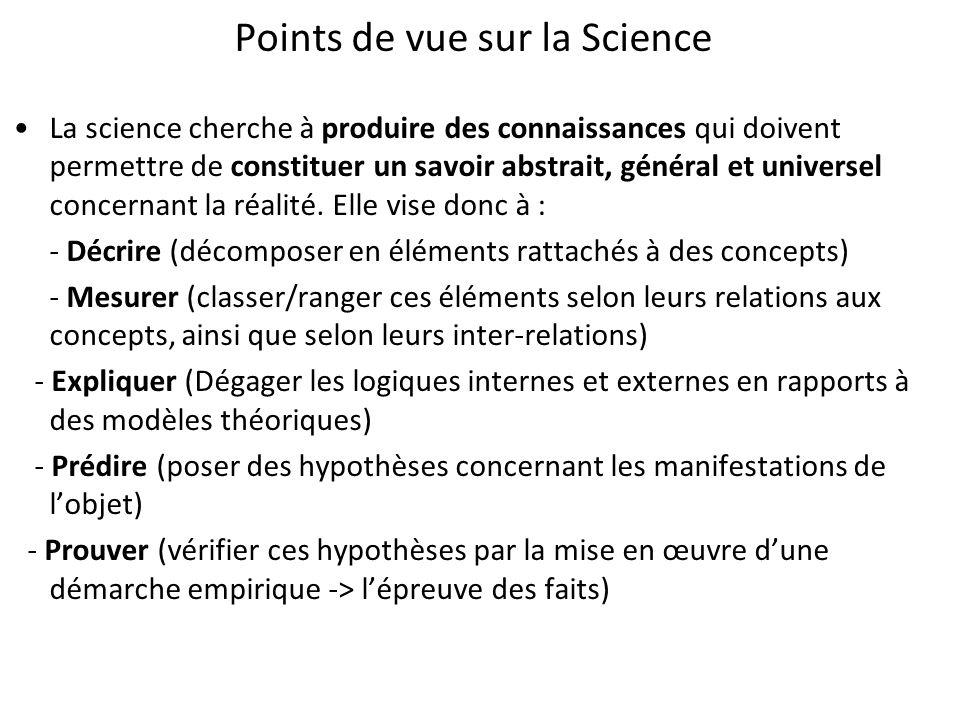 Points de vue sur la Science La science cherche à produire des connaissances qui doivent permettre de constituer un savoir abstrait, général et univer